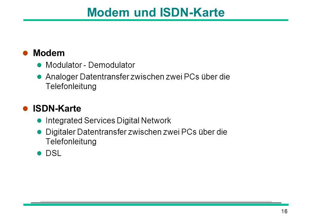 Modem und ISDN-Karte Modem ISDN-Karte Modulator - Demodulator
