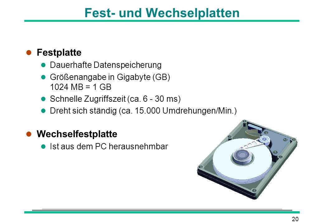 Fest- und Wechselplatten