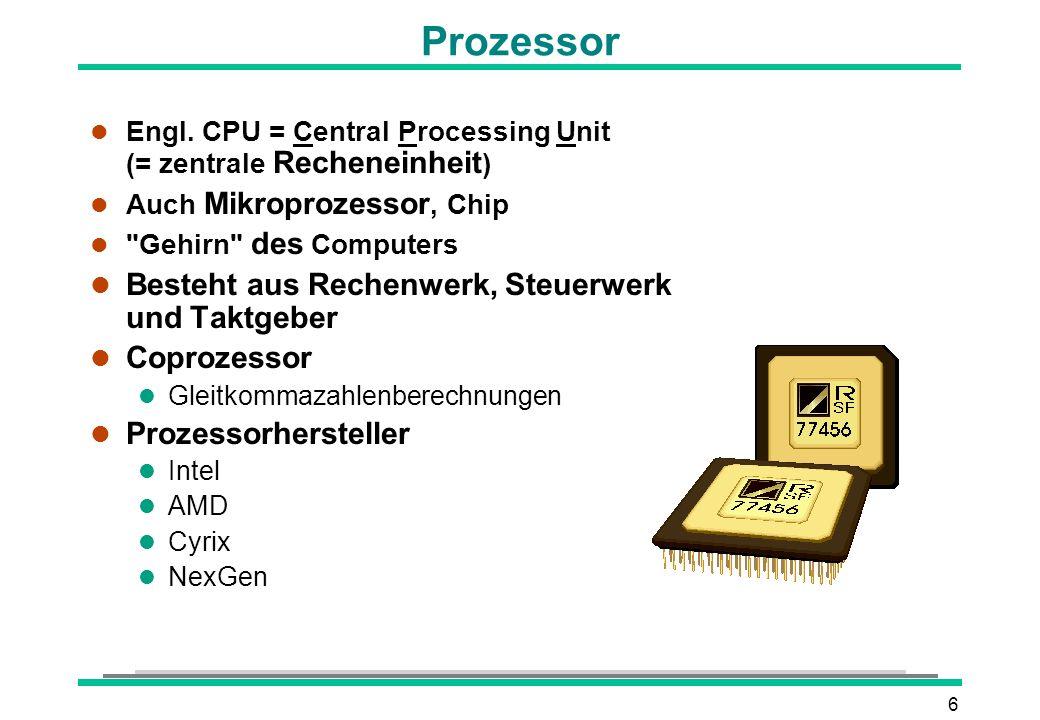 Prozessor Besteht aus Rechenwerk, Steuerwerk und Taktgeber Coprozessor