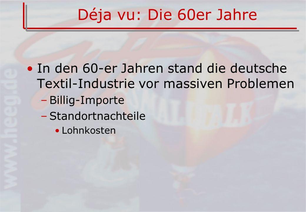 Déja vu: Die 60er Jahre In den 60-er Jahren stand die deutsche Textil-Industrie vor massiven Problemen.