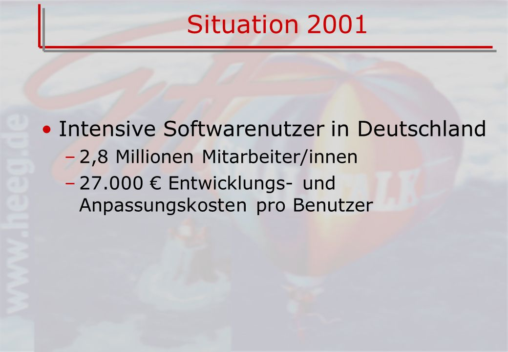 Situation 2001 Intensive Softwarenutzer in Deutschland
