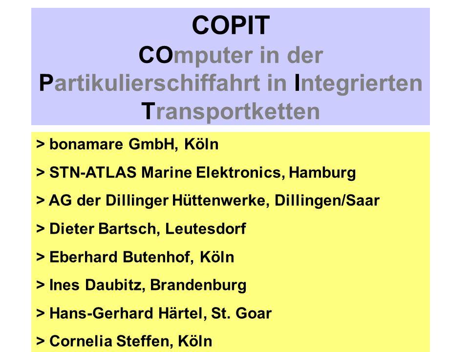 COPIT COmputer in der Partikulierschiffahrt in Integrierten Transportketten