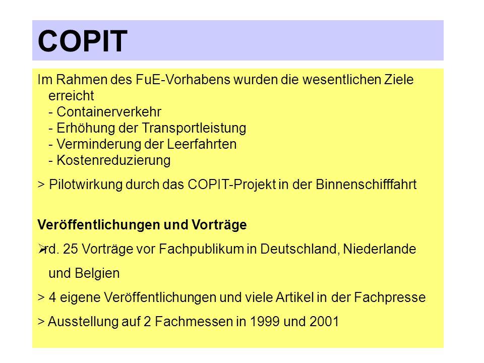 COPIT Im Rahmen des FuE-Vorhabens wurden die wesentlichen Ziele