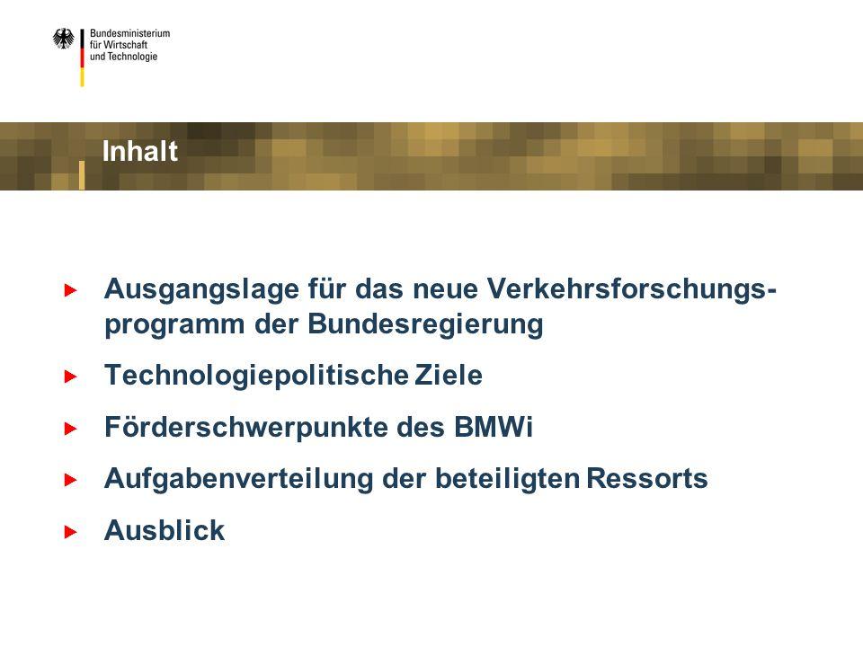 Inhalt Ausgangslage für das neue Verkehrsforschungs-programm der Bundesregierung. Technologiepolitische Ziele.