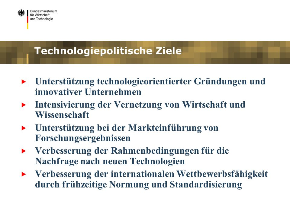 Technologiepolitische Ziele