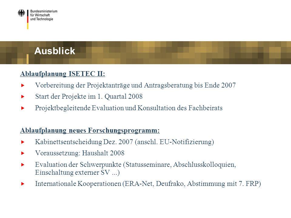 Ausblick Ablaufplanung ISETEC II: