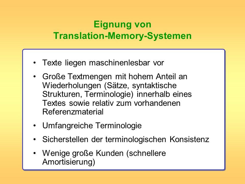 Eignung von Translation-Memory-Systemen