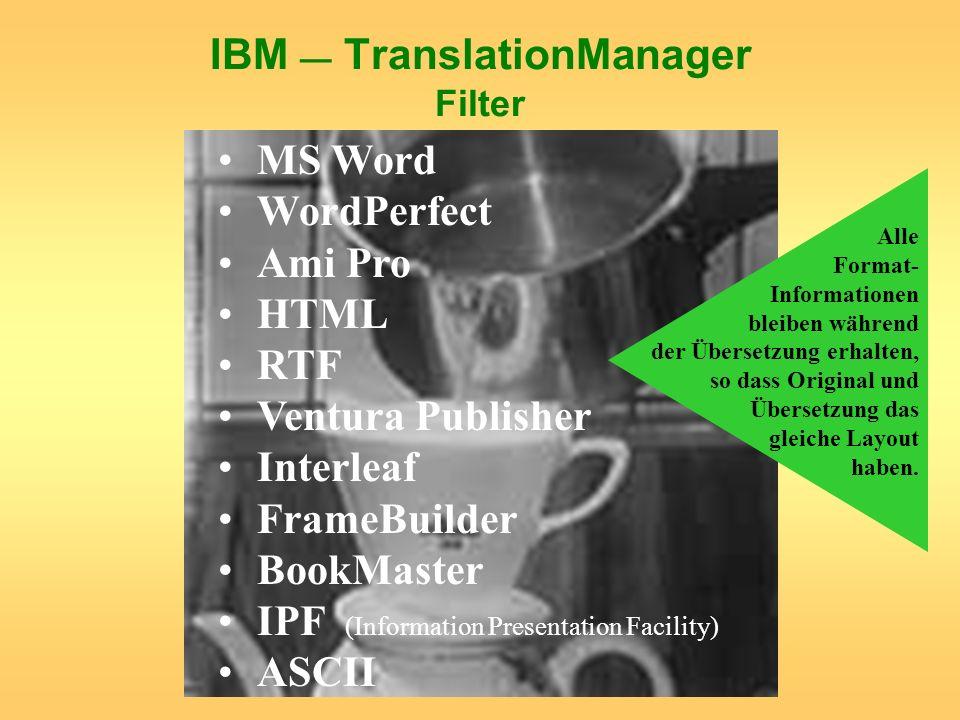 IBM — TranslationManager Filter