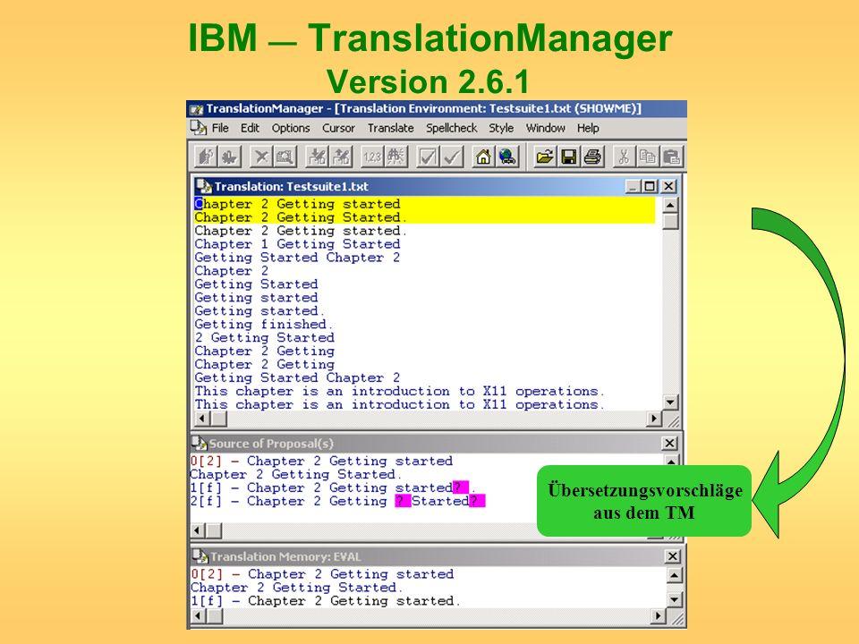 IBM — TranslationManager Version 2.6.1