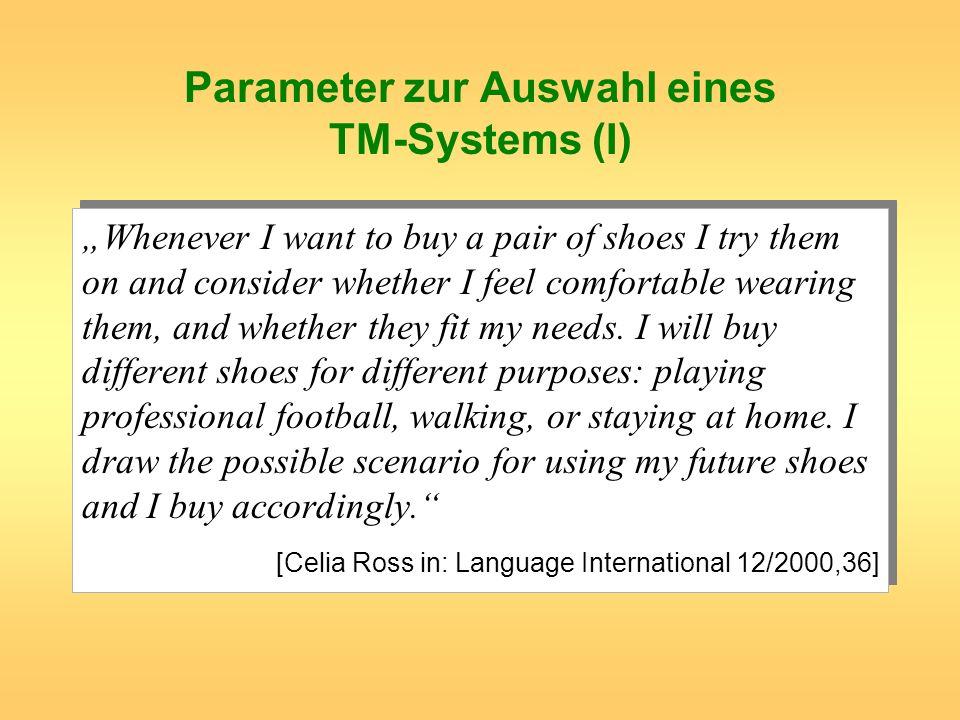 Parameter zur Auswahl eines TM-Systems (I)