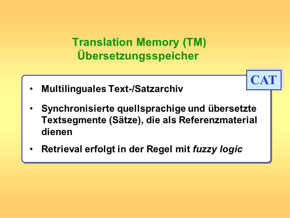 Translation Memory (TM) Übersetzungsspeicher