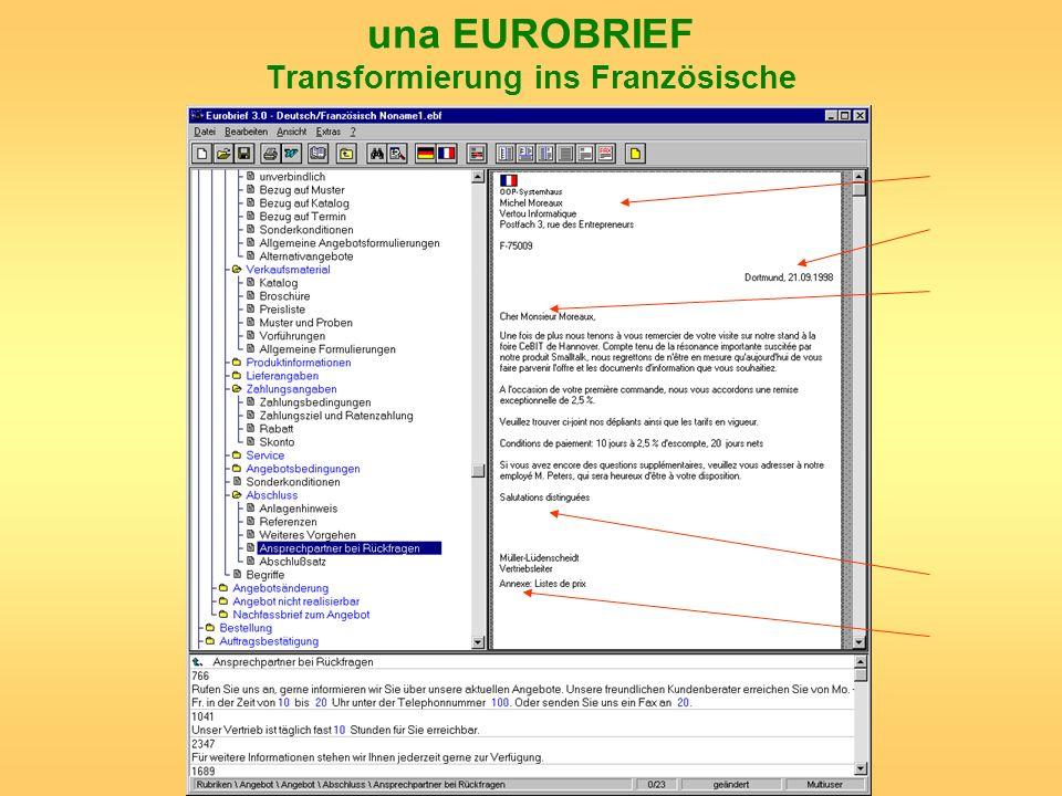 una EUROBRIEF Transformierung ins Französische