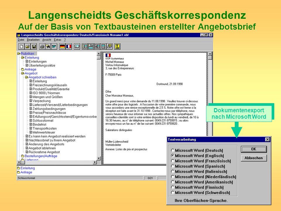 Dokumentenexport nach Microsoft Word