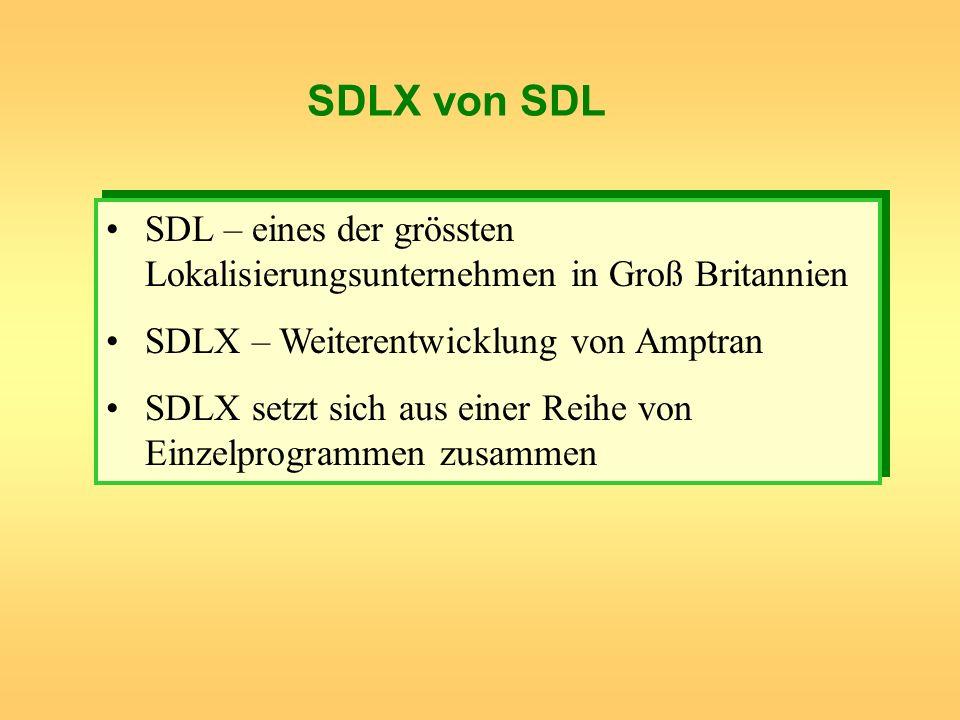 SDLX von SDLSDL – eines der grössten Lokalisierungsunternehmen in Groß Britannien. SDLX – Weiterentwicklung von Amptran.