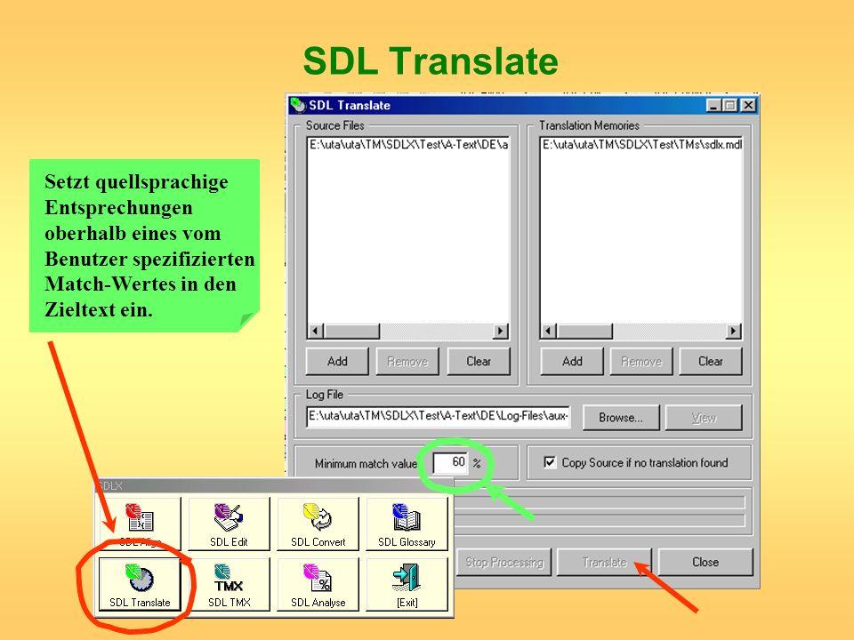 SDL TranslateSetzt quellsprachige Entsprechungen oberhalb eines vom Benutzer spezifizierten Match-Wertes in den Zieltext ein.