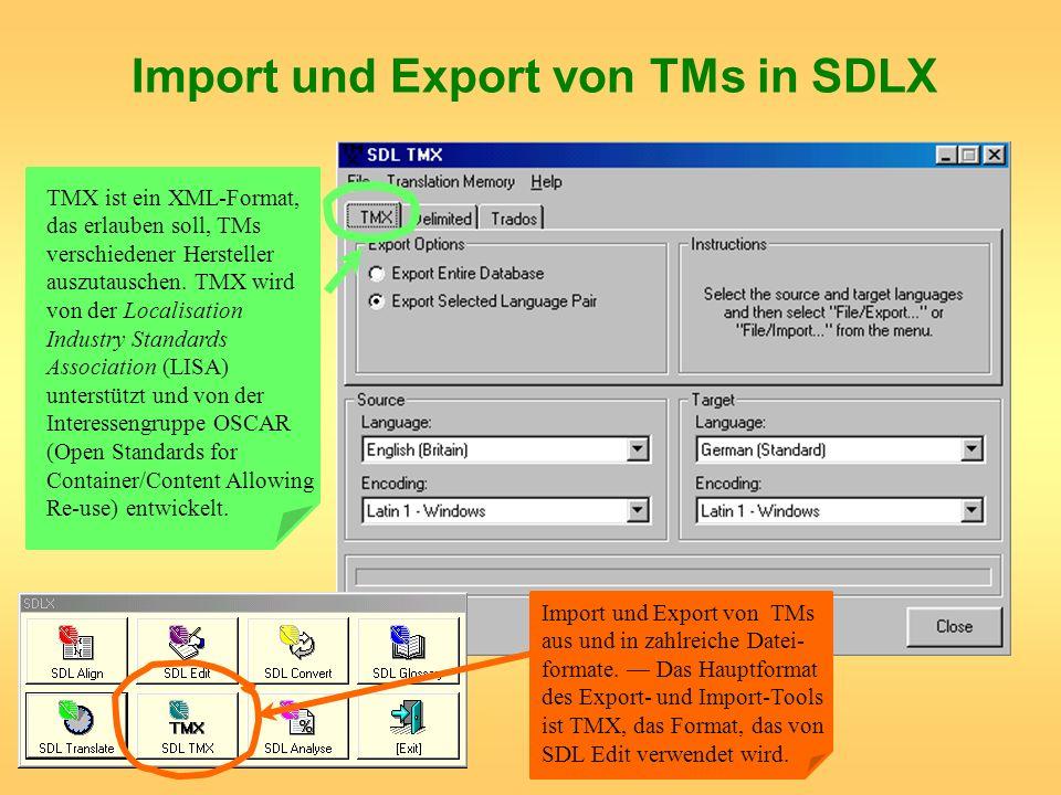 Import und Export von TMs in SDLX