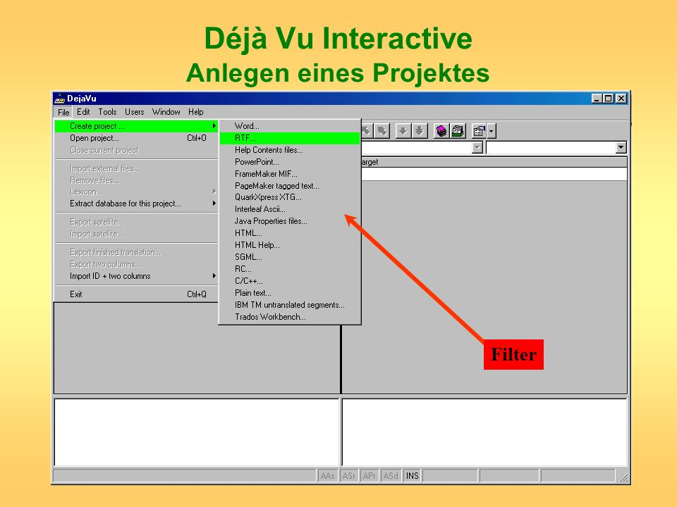 Déjà Vu Interactive Anlegen eines Projektes