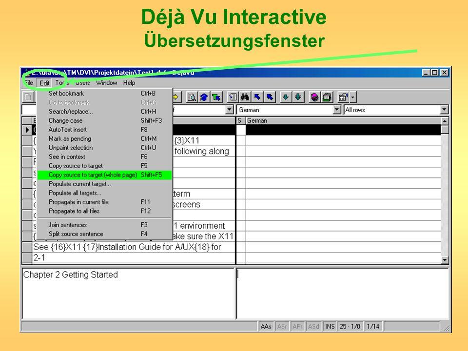 Déjà Vu Interactive Übersetzungsfenster