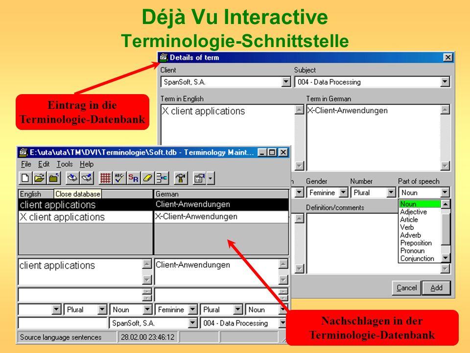 Déjà Vu Interactive Terminologie-Schnittstelle
