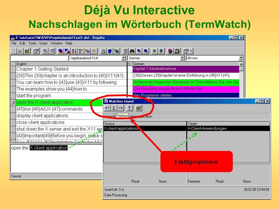 Déjà Vu Interactive Nachschlagen im Wörterbuch (TermWatch)