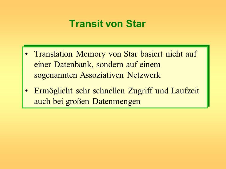 Transit von StarTranslation Memory von Star basiert nicht auf einer Datenbank, sondern auf einem sogenannten Assoziativen Netzwerk.