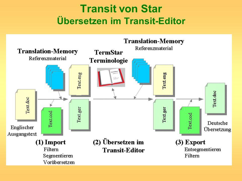 Transit von Star Übersetzen im Transit-Editor