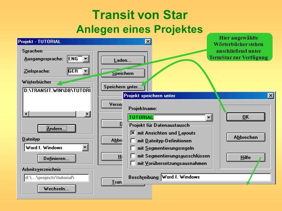 Transit von Star Anlegen eines Projektes