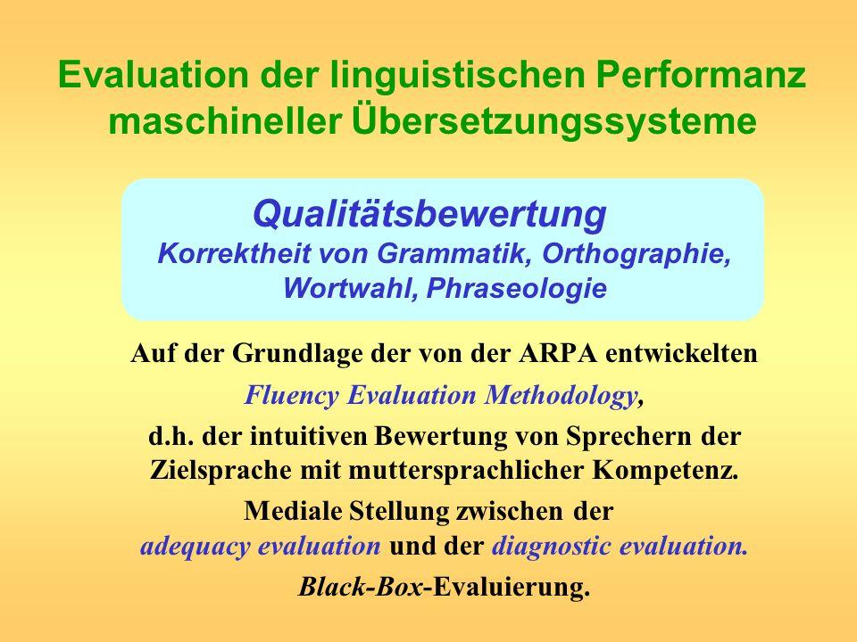 Evaluation der linguistischen Performanz maschineller Übersetzungssysteme
