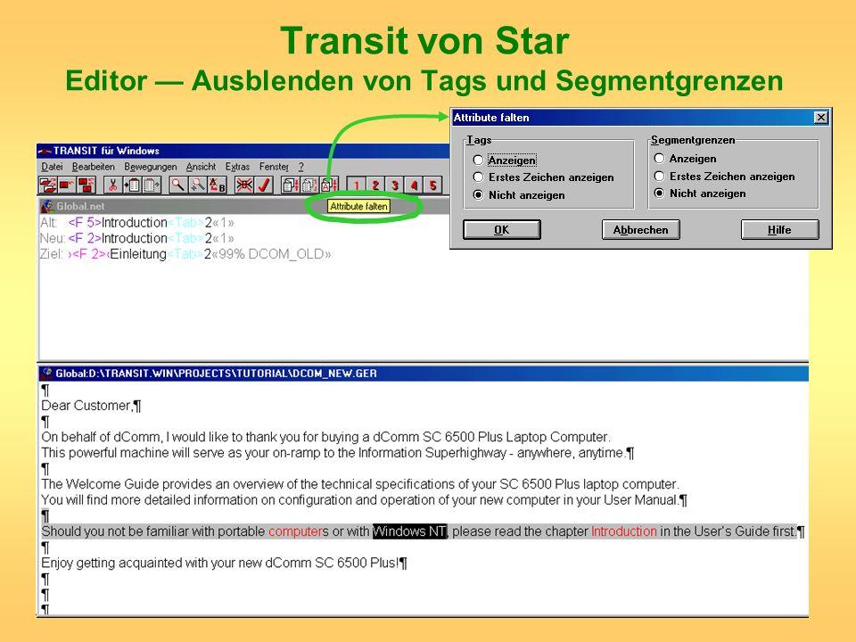 Transit von Star Editor — Ausblenden von Tags und Segmentgrenzen