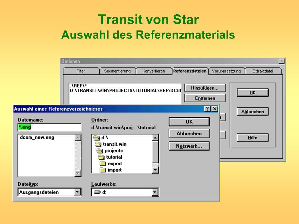 Transit von Star Auswahl des Referenzmaterials