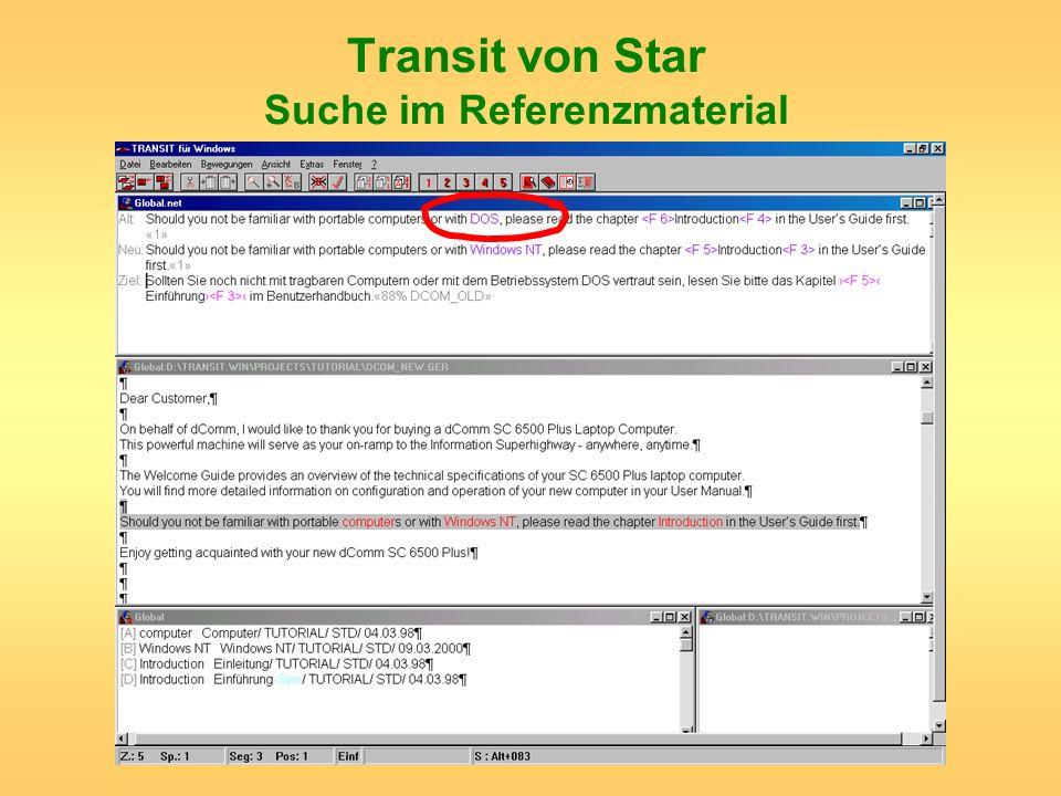 Transit von Star Suche im Referenzmaterial