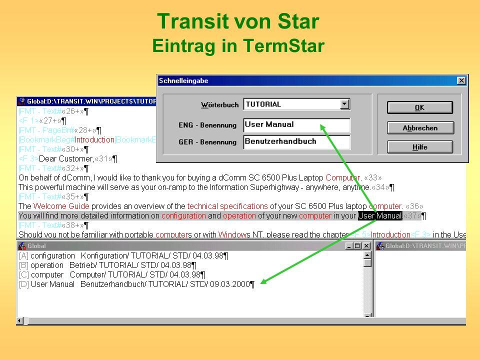 Transit von Star Eintrag in TermStar