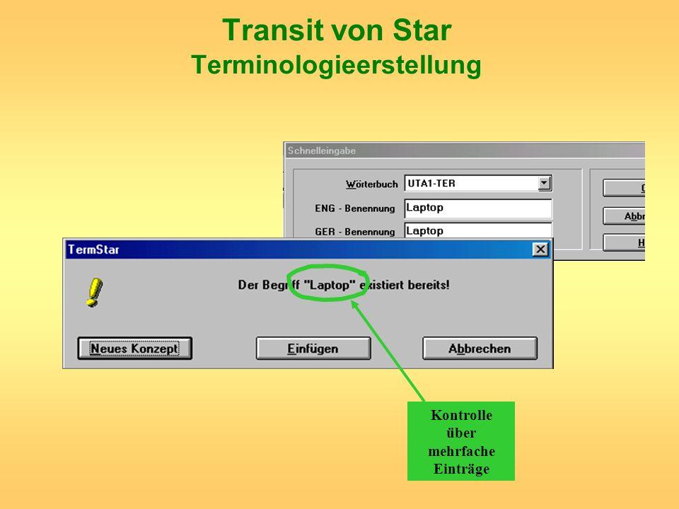 Transit von Star Terminologieerstellung