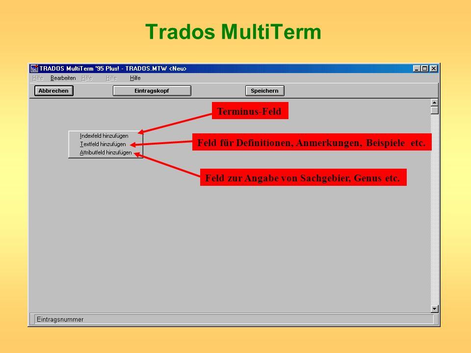 Trados MultiTerm Terminus-Feld