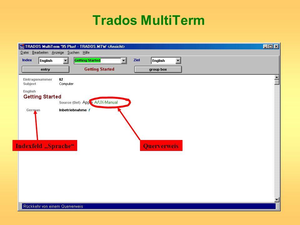 """Trados MultiTerm Indexfeld """"Sprache Querverweis"""