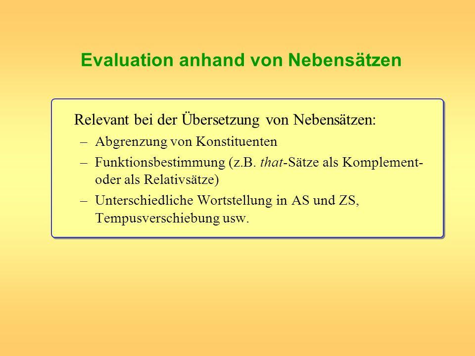 Evaluation anhand von Nebensätzen