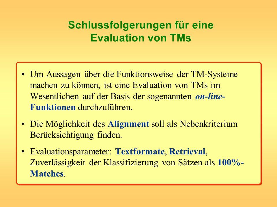 Schlussfolgerungen für eine Evaluation von TMs