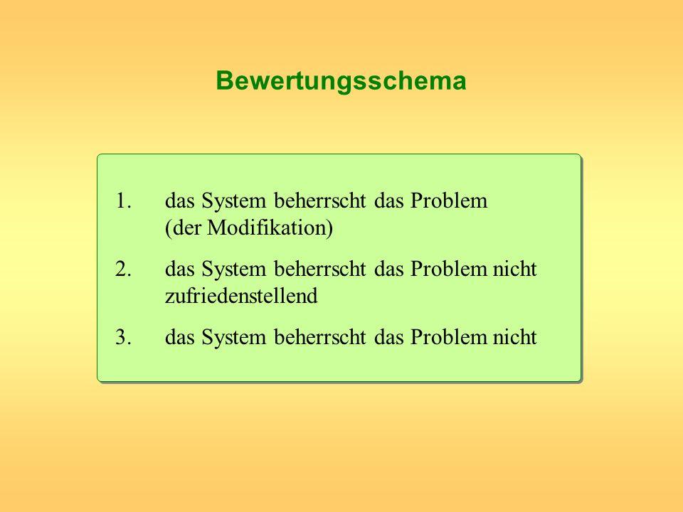 Bewertungsschema 1. das System beherrscht das Problem (der Modifikation) 2. das System beherrscht das Problem nicht zufriedenstellend.