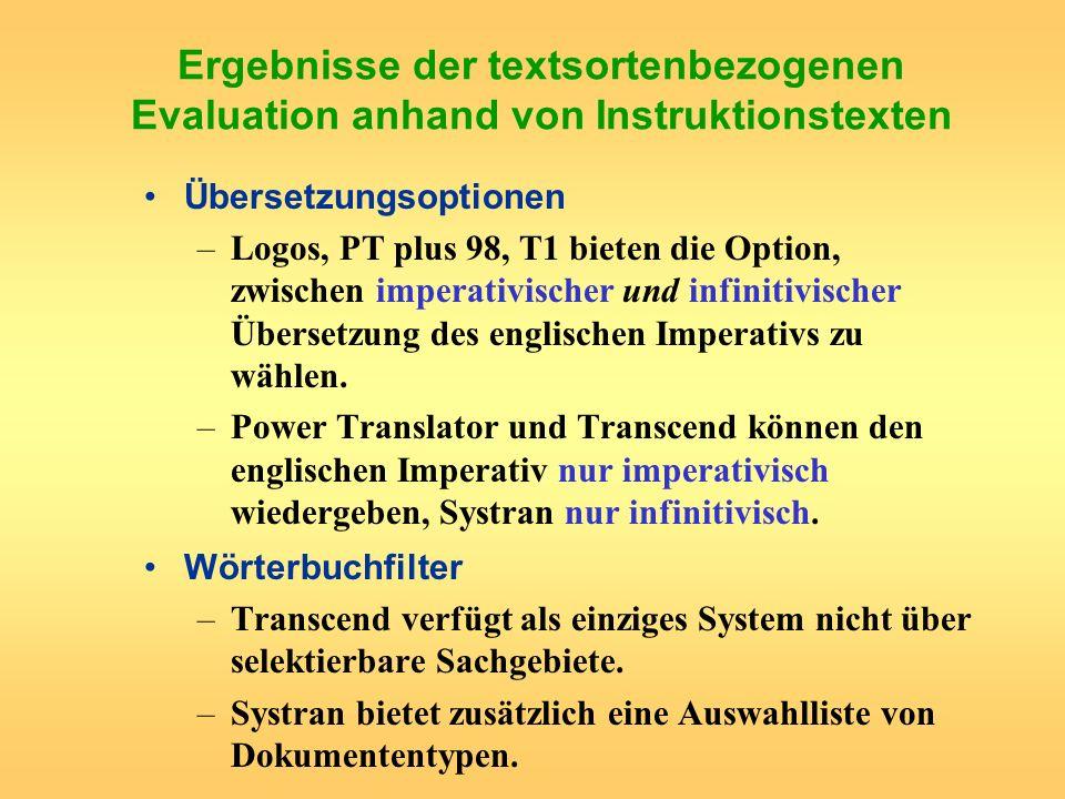 Ergebnisse der textsortenbezogenen Evaluation anhand von Instruktionstexten