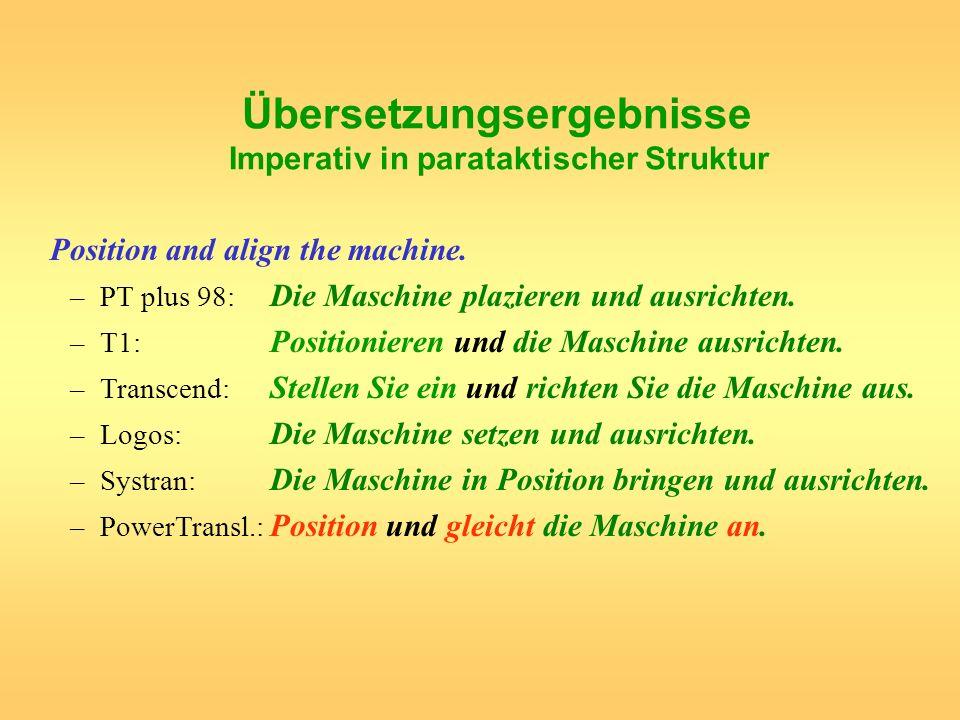 Übersetzungsergebnisse Imperativ in parataktischer Struktur