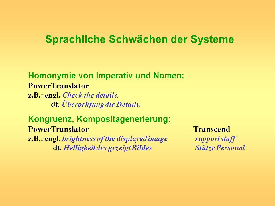 Sprachliche Schwächen der Systeme