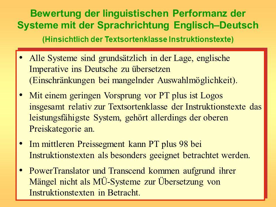Bewertung der linguistischen Performanz der Systeme mit der Sprachrichtung Englisch–Deutsch (Hinsichtlich der Textsortenklasse Instruktionstexte)
