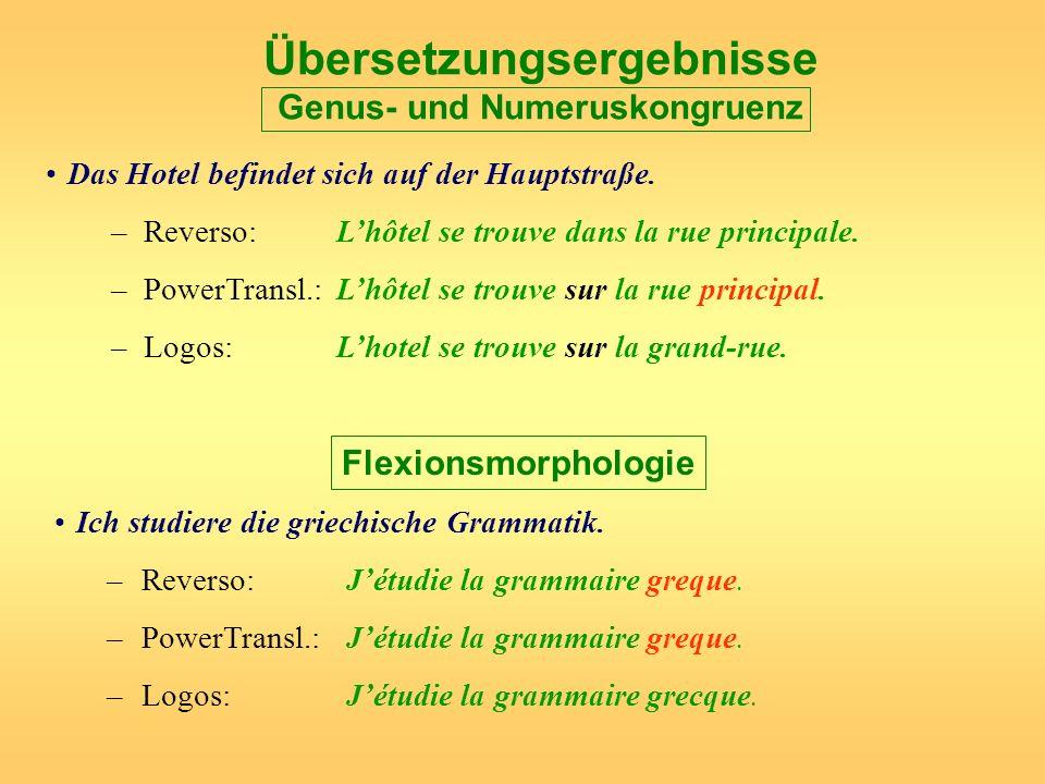 Übersetzungsergebnisse Genus- und Numeruskongruenz