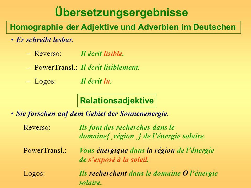 Übersetzungsergebnisse Homographie der Adjektive und Adverbien im Deutschen