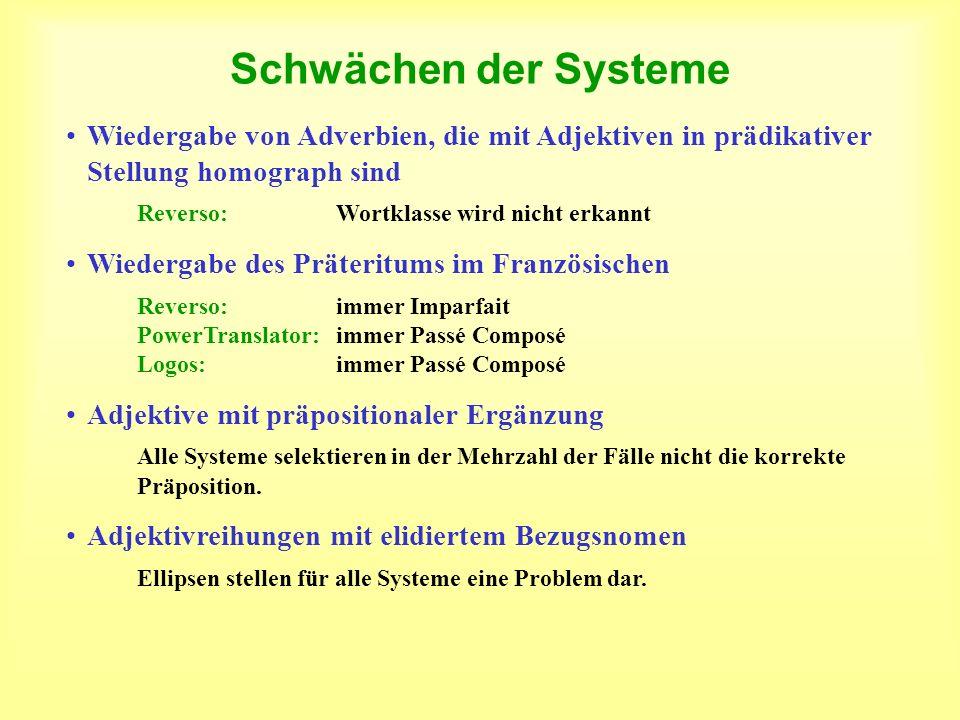 Schwächen der SystemeWiedergabe von Adverbien, die mit Adjektiven in prädikativer Stellung homograph sind.