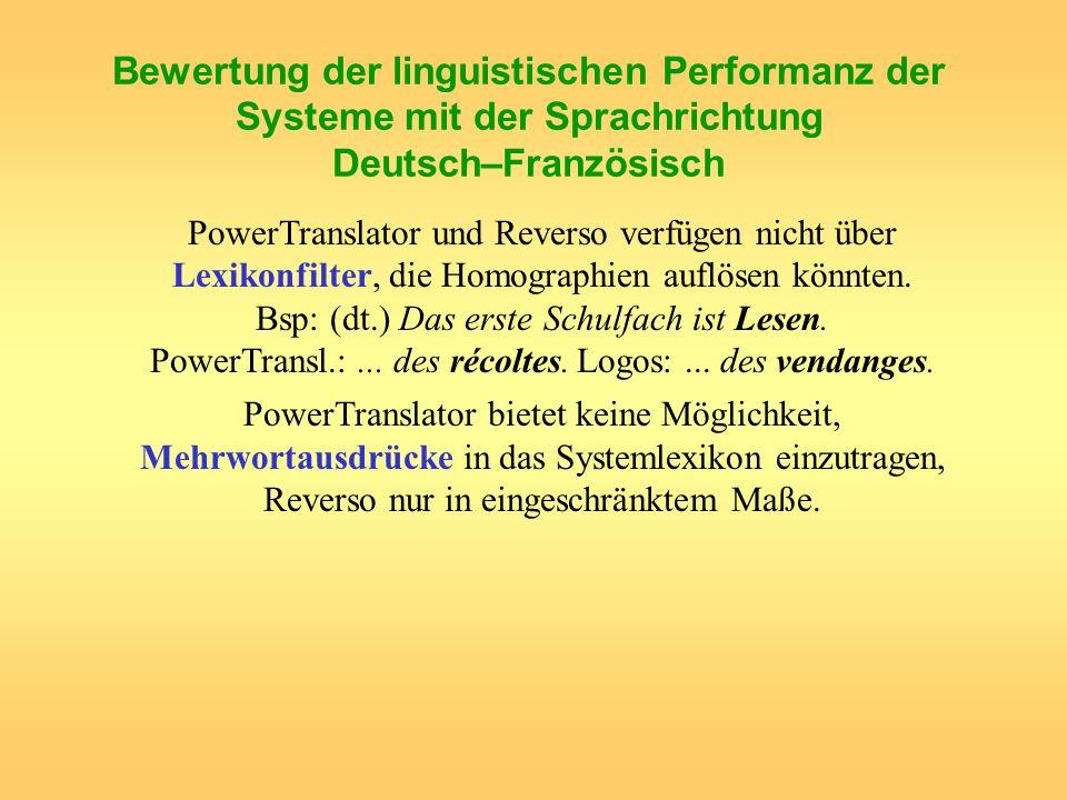 Bewertung der linguistischen Performanz der Systeme mit der Sprachrichtung Deutsch–Französisch