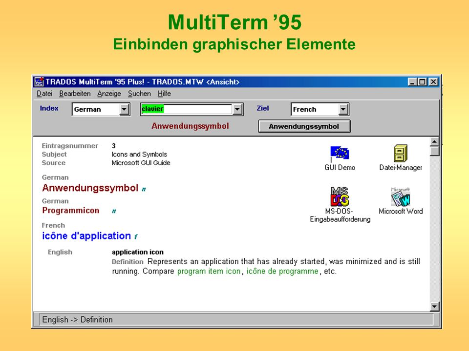 MultiTerm '95 Einbinden graphischer Elemente