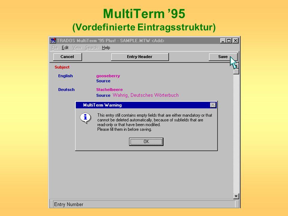 MultiTerm '95 (Vordefinierte Eintragsstruktur)