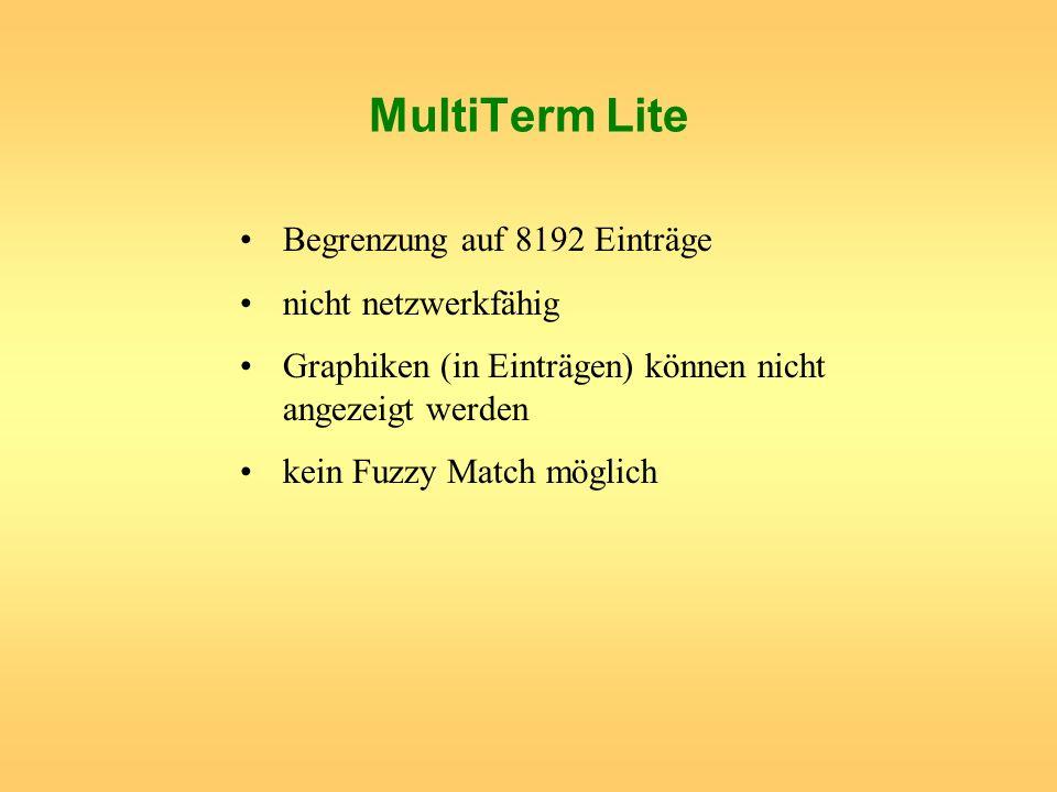 MultiTerm Lite Begrenzung auf 8192 Einträge nicht netzwerkfähig