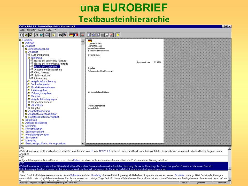 una EUROBRIEF Textbausteinhierarchie